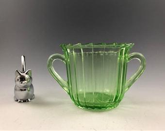 Jeannette Sierra - Green Depression Glass Sugar Bowl - Pinwheel Pattern - Uranium Glass