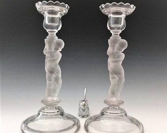 EAPG Candlestick Holders - Central Glass #691 - Baccarat Style - Putti With Torch - Early American Pattern Glass - c. 1882