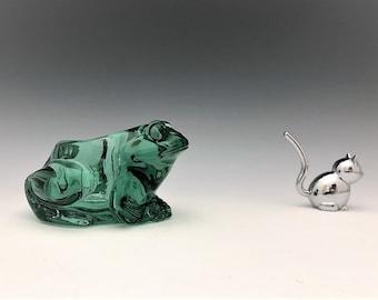 Green Glass Frog Candleholder
