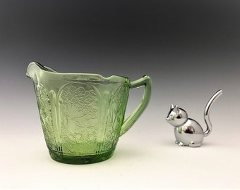 Jeannette Glass Cherry Blossom Pattern - Creamer - Green Depression Glass Cream Pitcher - Glowing Uranium Glass