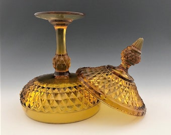 Indiana Glass Diamond Point Amber Candy Dish - Large Covered Compote