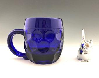 New Martinsville #24 Beer Mug - Cobalt Blue Thumbprint Mug