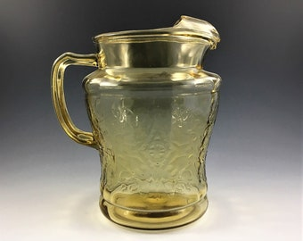 Federal Glass Madrid Pattern - Amber Depression Glass - 80 Ounce Pitcher With Ice Lip - Vintage Water Pitcher