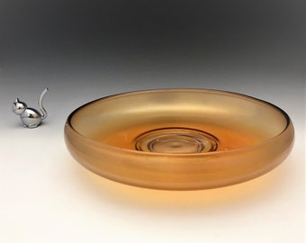 Fenton Stretch Glass Bowl - Tangerine Stretch - Grecian Gold - Large Console Bowl