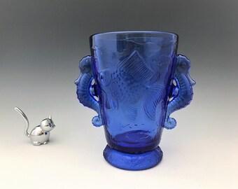 Cobalt Blue Seahorse Vase - Barolac Glass - Joseph Inwald Design