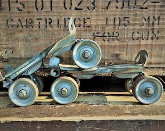 Vintage Pair of Roller Skates - Metal Wheeled Adjustable Skates - Speedster Brand