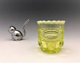 Eyewinker Toothpick Holder - Mosser Glass - Vaseline Glass With Opalescent Rim