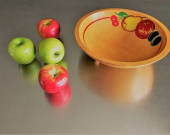Vintage Mid Century Wooden Footed Bowl - Fruit Bowl - Salad Bowl - Hand Painted