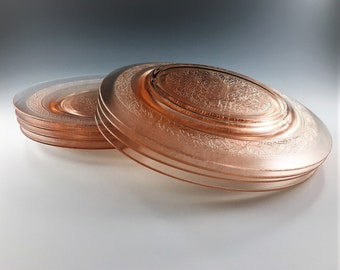 Set of 4 Pink Depression Glass Plates - MacBeth Evans - Leaf Pattern - 8 Inch Luncheon Plates