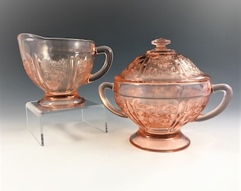 Pink Depression Glass Breakfast Set - Federal Glass - Sharon or Cabbage Rose Pattern - Covered Sugar Bowl and Cream Pitcher