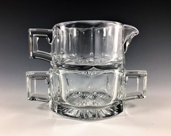Vintage Heisey Breakfast Set - Wide Flat Panel Clear Pattern - Colonial Panel Design - Creamer and Sugar Bowl - Depression Era Glass