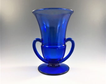 Vintage L.E. Smith Cobalt Vase  - Number 1900 Two-Handled Footed Vase - Hard to Find