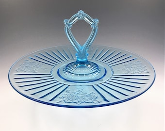 Hocking Mayfair Blue Center Handled Server (CHS) - Hard to Find - Blue Depression Glass