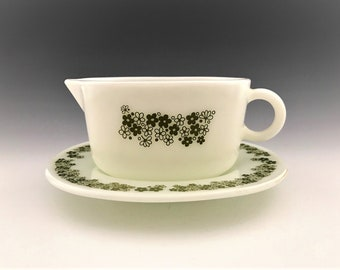 Pyrex Crazy Daisy Gravy Boat and Under Plate - Spring Blossom Pattern