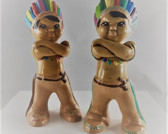 Vintage Ceramic Indian Figurines - Set of Two - Native American Statues - Braves With Attitude