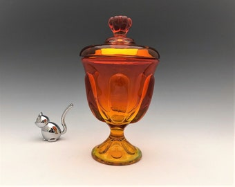 Viking Glass Six Petal Candy Jar - Persimmon - Mid Century Covered Candy