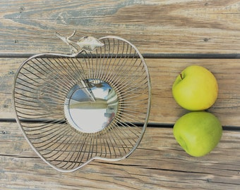 Vintage Apple Shaped Bowl - Silver Plated Fruit or Bread Basket - Mid Century Centerpiece