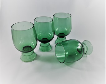 Collection of 4 Verde Green Empoli Glasses - Vintage Italian Glass or Barware - Hand Blown Green Glass