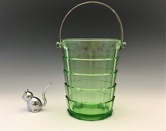 Indiana Glass Tea Room Pattern (1926-31) Ice Bucket With Metal Handle and Tongs
