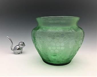 Fostoria Grape Brocade Vase (1927-29) - Depression Era Vase - Uranium Glass Vase - Glowing Glass Vase