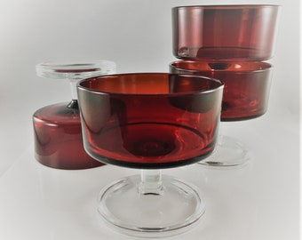 Arcoroc Ruby Red Champagne Coupes / Sherbet Dessert Glasses  - Set of 4 - Made in France - Arcoroc Cavalier
