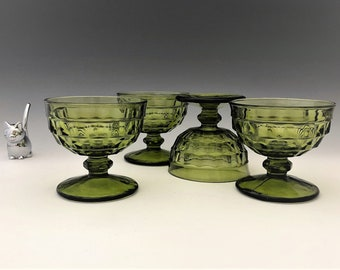 Indiana Glass Pitcher - Whitehall Pattern - Line #521 - Set of 4 Olive Green Glass Footed Sherbets