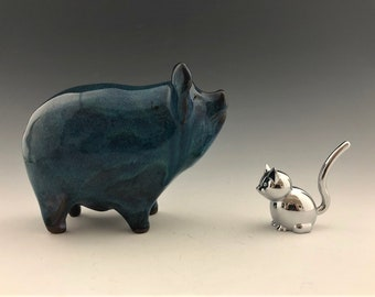 Blue Ceramic Pig Bank With Silky Glaze