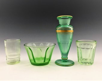Uranium Glass Collector's Starter Kit - 4 Assorted Pieces of Glowing Green Glass - Green Depression Glass