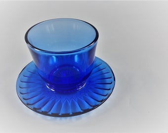 MacBeth Evans Petalware Cobalt - Mustard Server With Fixed Underplate - Depression Era Glassware