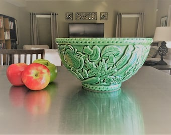 Vintage Majolica Pottery - Large Green Bowl - Vegetable Motif - Porta Portugal