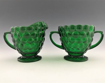 Anchor Hocking Bubble Green Breakfast Set - Creamer and Sugar Bowl - Depression Era Glass