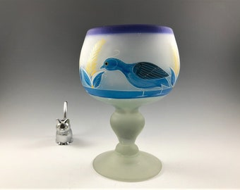 Unique Satin Glass Compote With Painted Quail - Mexican Art - Frosted Glass Footed Bowl