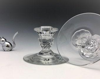 Fostoria American (2056) - Low Candlesticks - Set of 2 Elegant Candle Holders