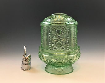 Indiana Glass Ice Green Fairy Lamp - DAMAGED Two Piece Candle Holder - Stars and Bars Pattern - Hard to Find Color
