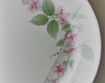 Two Vintage Corelle Dinner Plates - Veranda Pattern - Pink Flowers