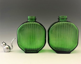 Set of Two Vintage Owens Illinois Deco Emerald Green Bottles