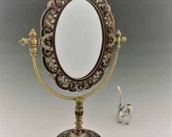 Bejeweled Princess Vanity Mirror - Vintage Glass and Metal Mirror - Cloisonne Style - Adjustable Makeup Mirror