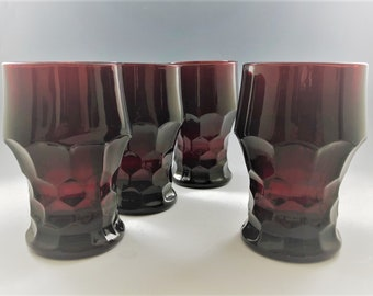 Set of 4 Anchor Hocking Royal Ruby Georgian Tumblers - Red Holiday Glassware