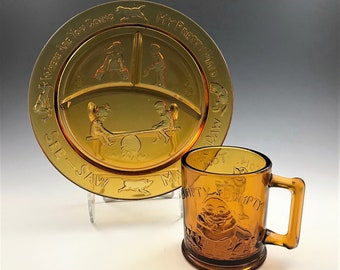 Indiana Glass Nursery Rhymes Divided Plate and Mug - Amber Glass - Tiara Exclusives