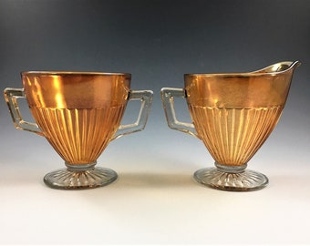 Depression Era Carnival Glass Breakfast Set - Economy Glass Company - Round Robin Pattern - Iridescent Creamer and Open Sugar Bowl