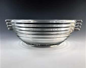 Stunning Art Deco Style Bowl - Anchor Hocking Manhattan Pattern - Large Fruit Bowl - Depression Era Glass
