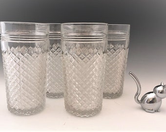 Hocking Miss America Tumblers - Set of 5 Depression Glass Tumblers - 14 Ounce Tumblers - Hard to Find