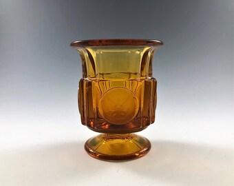 Stunning Fostoria Amber Coin Glass Footed Cigarette Urn - Hard to Find