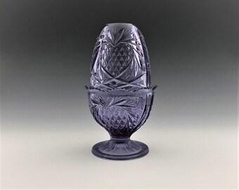 Fenton Fairy Light - #8406 Heart Pattern - Purple Fairy Lamp - Hard to Find Pineapple Pattern