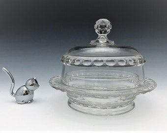 EAPG Covered Butter Dish - Ripley and Company - Dakota Pattern (OMN) - AKA Baby Thumbprint - Early American Pattern Glass - Circa 1885