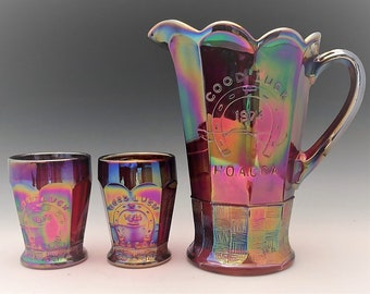 Indiana Glass Ruby Red Carnival Water Set - Heart of American Carnival Glass Association Souvenir - Pitcher and Six Tumblers