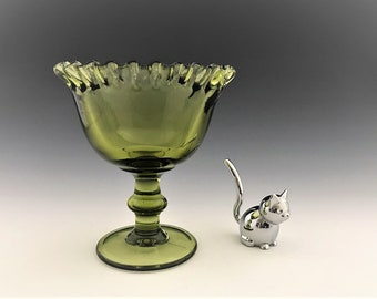 Imperial Glass - Hoffman House Green - Crimped Posie Bowl - Green Pedestal Compote