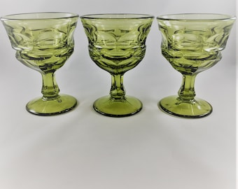 Set of 3 Vintage Fostoria Champagne or Tall Sherbet Glasses - Argus Green Pattern (Stem 2770) - Henry Ford Museum (HFM) Editions