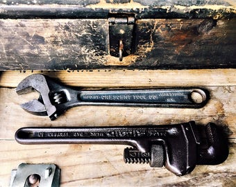 Vintage Classic Pipe and Adjustable Wrenches Ridge and Crescent Tool Company
