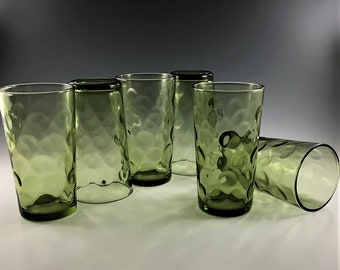 Set of 6 Mid Century Hazel Atlas 10 Ounce Flat Tumblers - Eldorado Green Pattern - Coin Dot - Green Glass